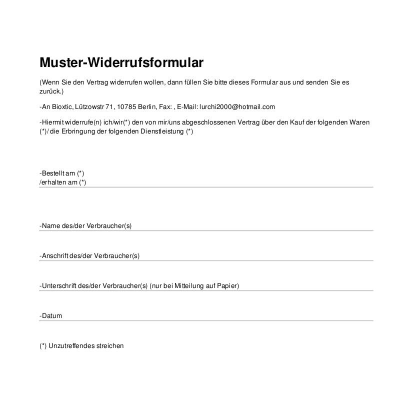 widerruf - Muster Widerrufsformular
